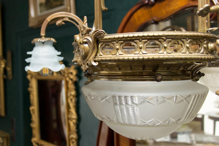 Late 19th Century French Bronze and Glass Five-Light Chandelier For Sale 15