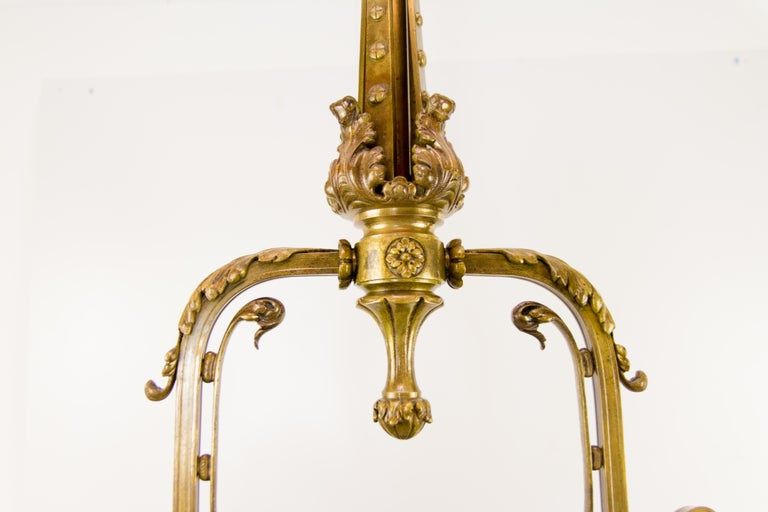Frosted Late 19th Century French Bronze and Glass Five-Light Chandelier For Sale