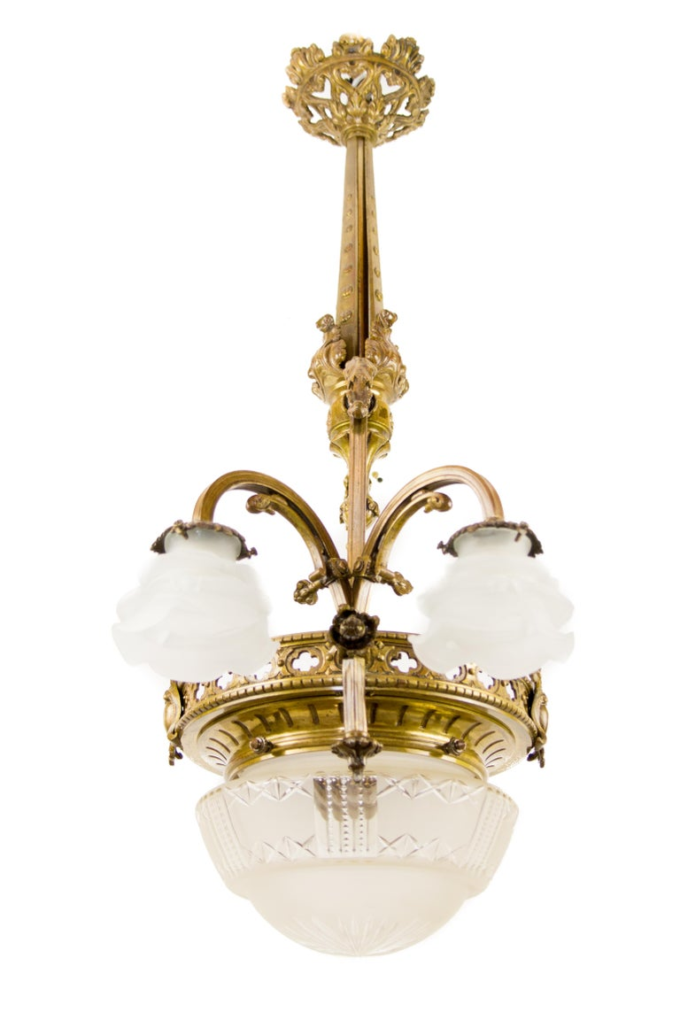Late 19th Century French Bronze and Glass Five-Light Chandelier In Good Condition For Sale In Barntrup, DE