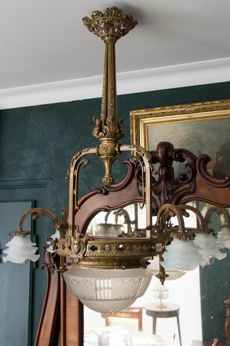 Late 19th Century French Bronze and Glass Five-Light Chandelier For Sale 3