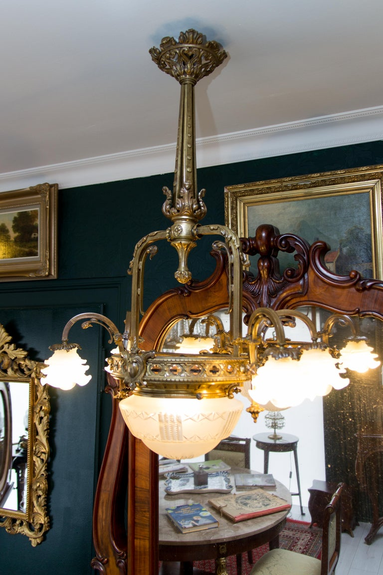 Late 19th Century French Bronze and Glass Five-Light Chandelier For Sale 4