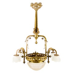 Late 19th Century French Bronze and Glass Five-Light Chandelier