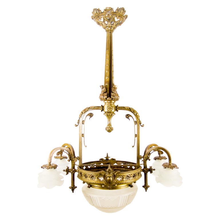 Late 19th Century French Bronze and Glass Five-Light Chandelier For Sale