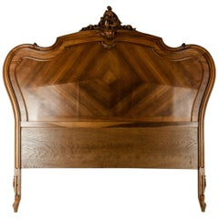 Late 19th Century French Burl Walnut Bed