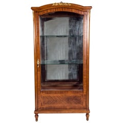 Late 19th Century French Burl Wood Vitrine / Cabinet