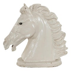 Late 19th Century French Butcher Shop Cast Iron Enameled White Horse Head Bust