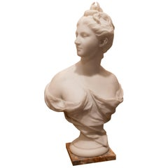 Late 19th Century French Carrara White Marble Bust, Diana Goddess of the Hunt