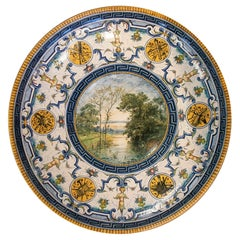 Late 19th Century French Ceramic Plate w/ Claude Charles Rudhart Landscape Scene