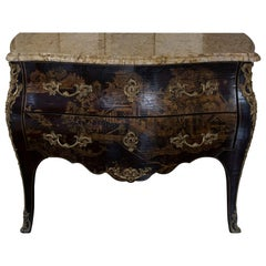 Late 19th Century French Chinoiserie Chest of Drawers, Marble Top, Brass Details