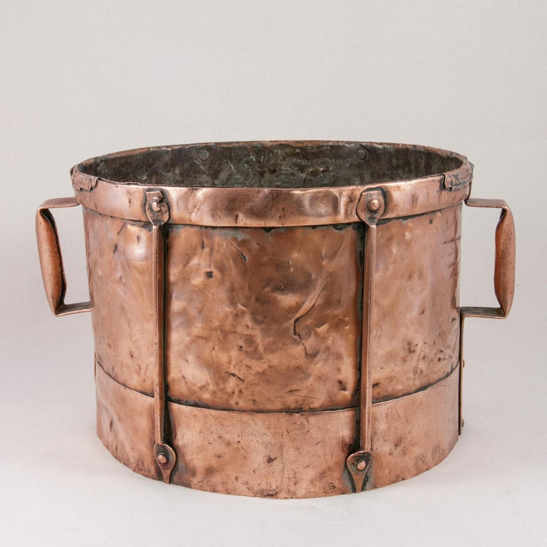 Late 19th Century French Copper Grain Measure or Cachepot, Planter with Handles For Sale 1