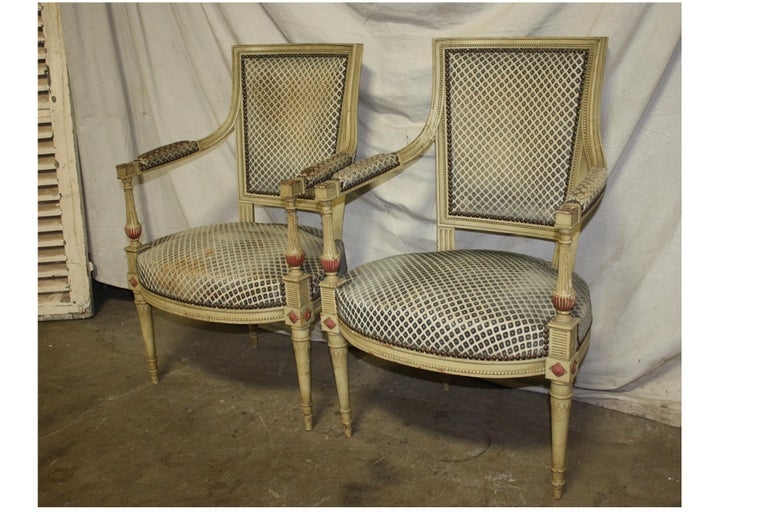Late 19th century French Directoire style pair of armchairs.