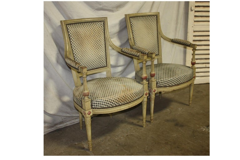 Lacquered Late 19th Century French Directoire Style Pair of Armchairs For Sale