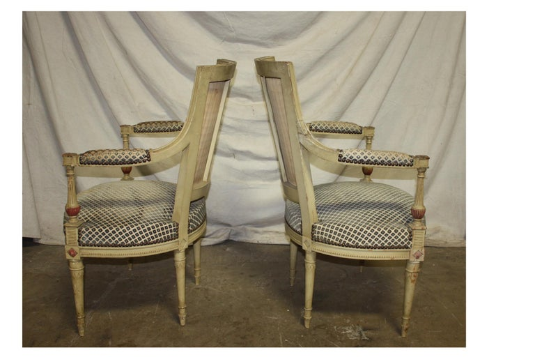 Late 19th Century French Directoire Style Pair of Armchairs In Good Condition For Sale In Atlanta, GA