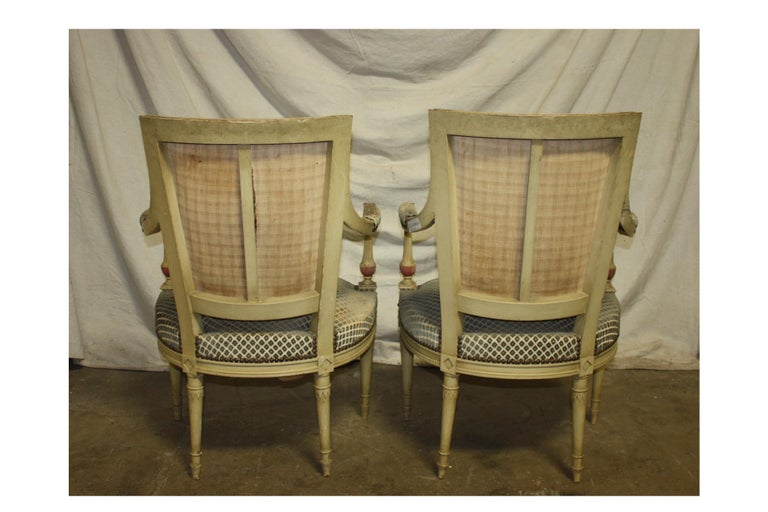 Late 19th Century French Directoire Style Pair of Armchairs For Sale 1