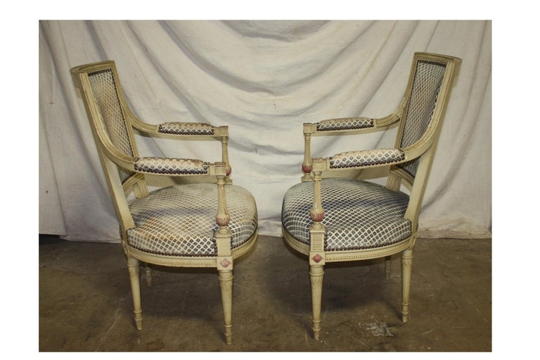 Late 19th Century French Directoire Style Pair of Armchairs For Sale 2