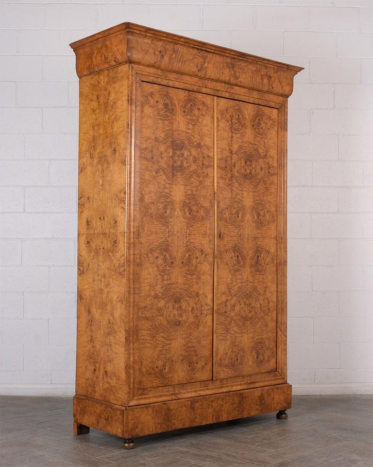 Wood Late 19th Century French Empire Style Burled Armoire For Sale