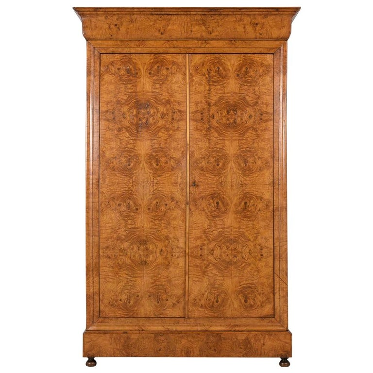 Late 19th Century French Empire Style Burled Armoire For Sale