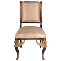 Late 19th, Century, French Empire Style Mahogany Side Chair-English