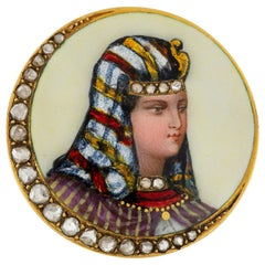 Late 19th Century French Enamel and Diamond Brooch