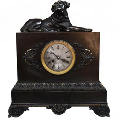 Late 19th Century French Figurative Bulldog Clock