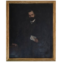 Late 19th Century French Gentleman Portrait, Oil on Canvas, Gilded Frame, France