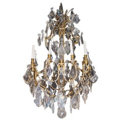 Late 19th Century French Gilt Bronze and Crystal Twelve-Light Chandelier
