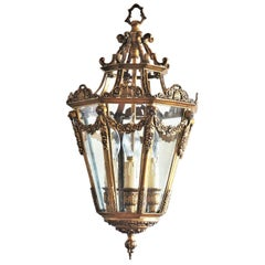 Late 19th Century French Gilt Bronze Eight-Sided Clear Glass Four-Light Lantern