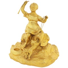 Late 19th Century French Gilt Bronze Figure of a Girl and Dog