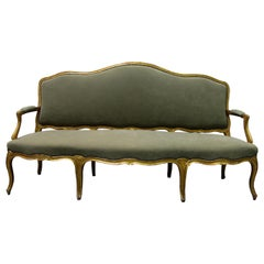 Late 19th Century French Gilt Carved Wood Canapé, Sofa Louis XV Style