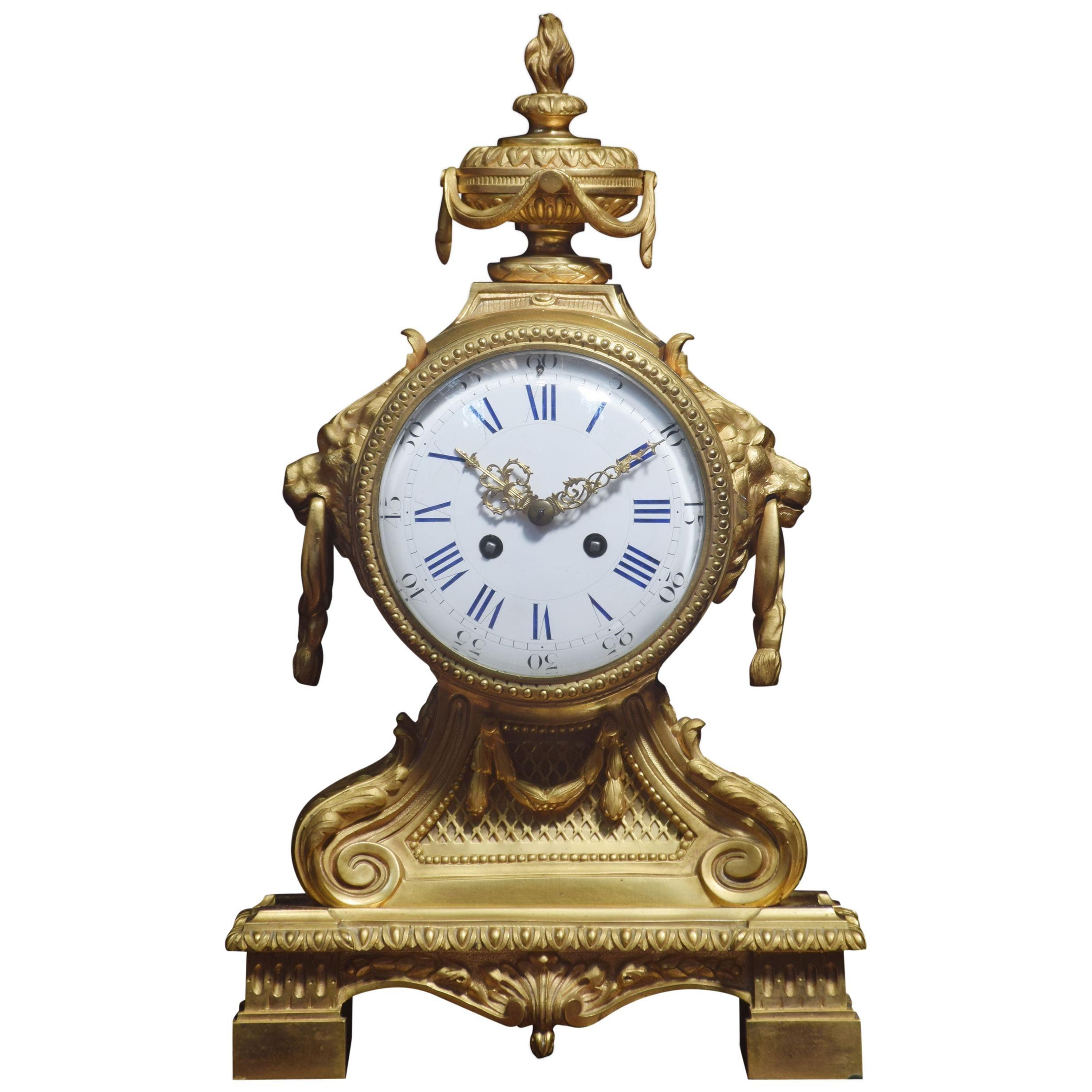 Late 19th Century French Gilt Metal Mantel Clock
