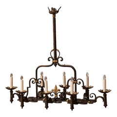 Late 19th Century French Gothic Eight-Light Iron Chandelier with Fleur de Lys