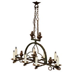 Late 19th Century French Gothic Wrought Black Iron Eight-Light Chandelier