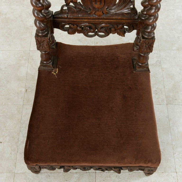 Late 19th Century French Hand-Carved Oak Prie Dieu or Prayer Chair with Columns For Sale 6