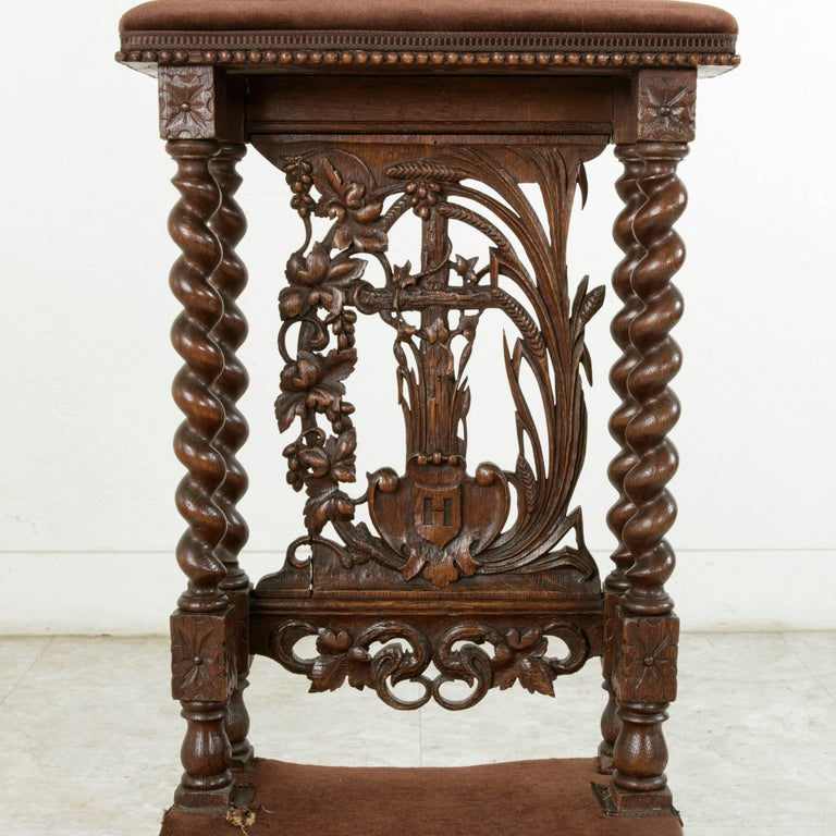 Mohair Late 19th Century French Hand-Carved Oak Prie Dieu or Prayer Chair with Columns For Sale
