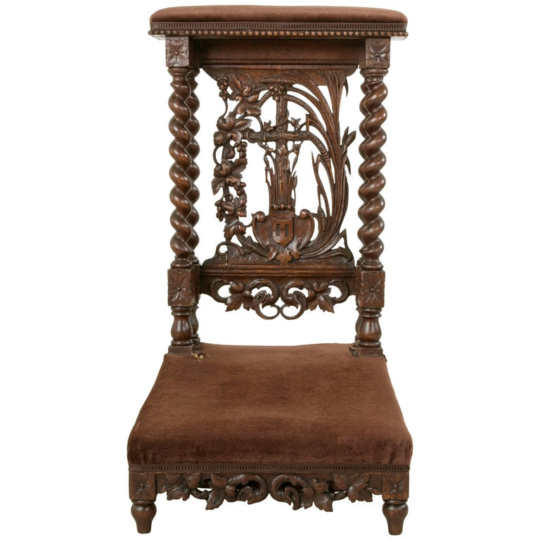 Late 19th Century French Hand-Carved Oak Prie Dieu or Prayer Chair with Columns For Sale