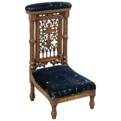 Late 19th Century French Hand-Carved Oak Prie-Dieu or Prayer Chair with Cross