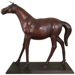 Late 19th Century French Handmade Leather Full Body Horse Sculpture or Model