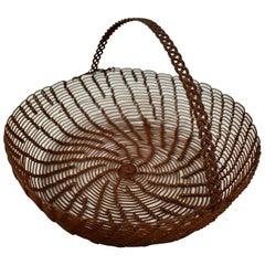 Late 19th Century French Handmade Swirled and Braided Handled Metal Egg Basket