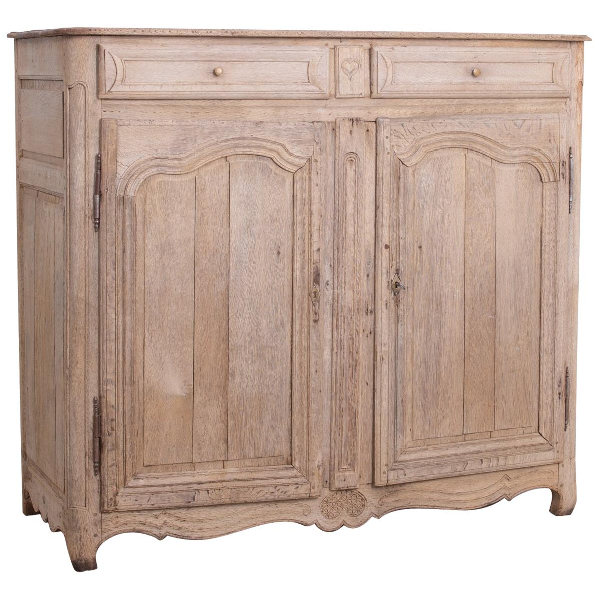 Late 19th Century French Heart Bleached Oak Buffet
