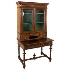 Late 19th Century French Henri II Hand Carved Walnut Secretary Bookcase Desk