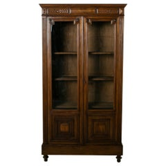 Late 19th Century French Henri II Style Hand-Carved Walnut Bookcase or Vitrine
