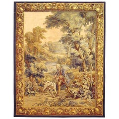 Late 19th Century French Hunting Tapestry, w/ a Nobleman & His Hound on the Hunt