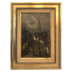 Late 19th Century French Impressionist Painting Oil on Board by Auguste Boulard