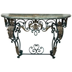 Late 19th Century French Iron Console with Marble Top