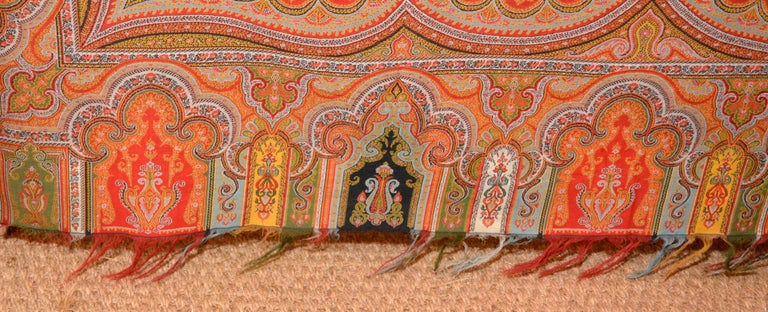 Late 19th Century French Kashmir Paisley Shawl For Sale 1