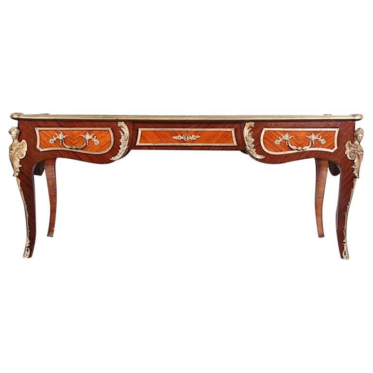 Late 19th Century French Kingwood Louis XV Bureau Plat Desk Ormolu Mounts