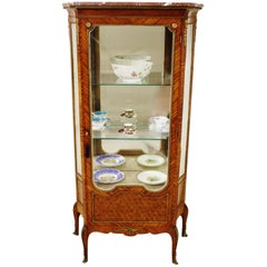 Late 19th Century French Kingwood Parquetry Marble Topped Vitrine