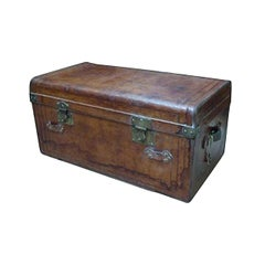 Late 19th Century French Leather Signed Trunk