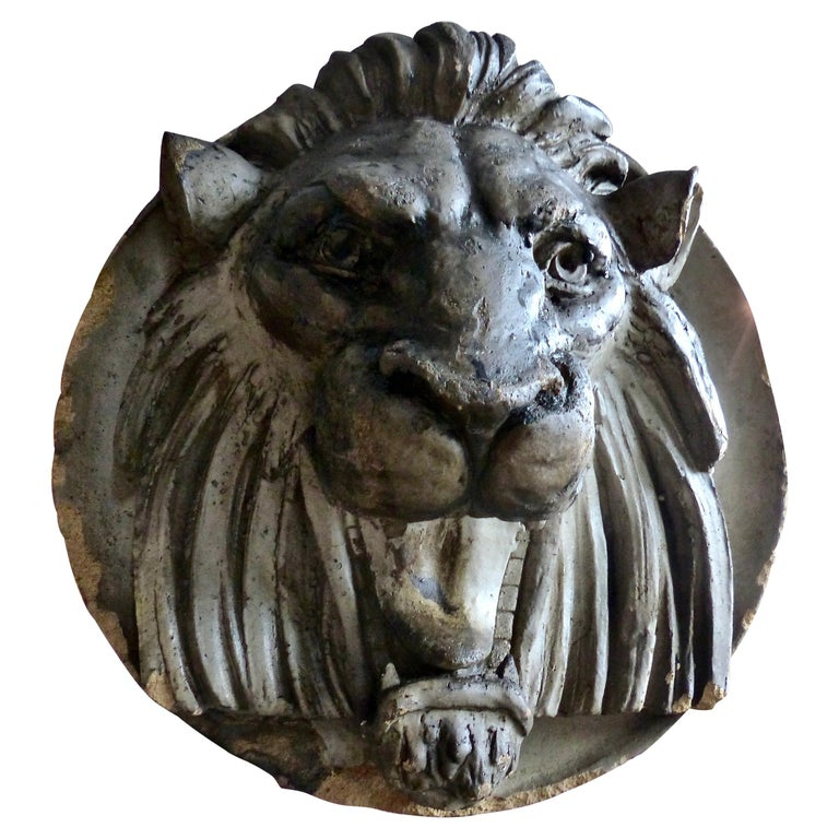 Late 19th Century French Limestone Lion's Head Architectural Salvage For Sale
