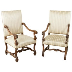 Late 19th Century French Louis XIV Style Hand Carved Walnut Mutton Leg Armchairs